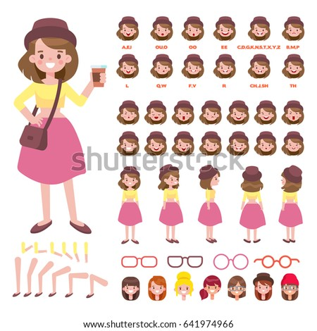 Front, side, back view animated character. Fashion girl character creation set with various views, hairstyles, face emotions, poses and lip sync. Parts of body template for animation