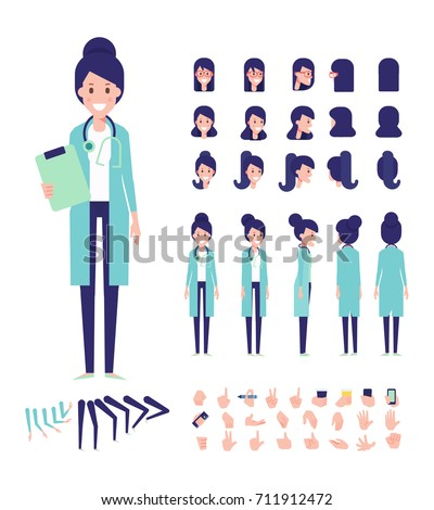 Front, side, back view animated character. Female doctor character creation set with various views, hairstyles, face emotions, poses and gestures. Cartoon style, flat vector illustration.