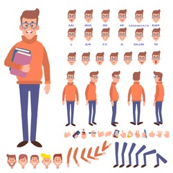 Front, side, back view animated character. Geek character creation set with various views, face emotions and gestures. Cartoon style, flat vector illustration.