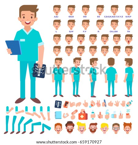 Front, side, back view animated character. Male doctor character creation set with various views, hairstyles, face emotions, poses and gestures. Cartoon style, flat vector illustration.
