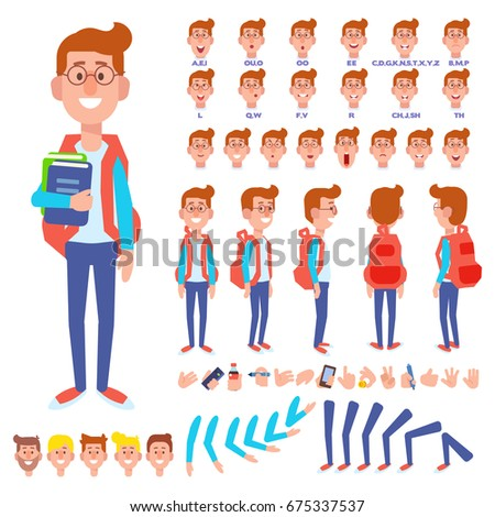 Shutterstock Front, side, back view animated character. Male Student character creation set with various views, hairstyles, face emotions, poses and gestures. Cartoon style, flat vector illustration.
