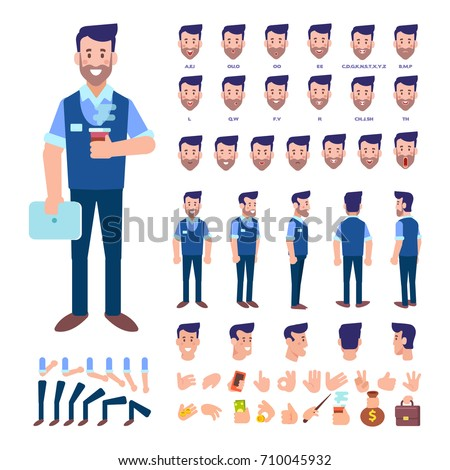 Front, side, back view animated character. Manager character constructor with various views, hairstyles, face emotions, poses and gestures. Cartoon style, flat vector illustration.