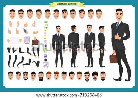Front, side, back view animated character. Manager character creation set with various views, hairstyles, face emotions, poses and gestures. Cartoon style, flat vector illustration.People character