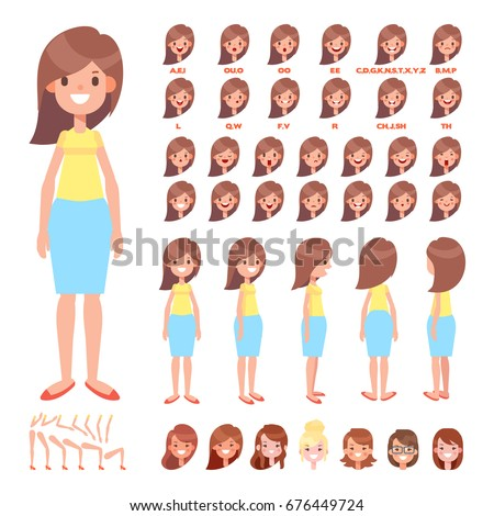 Front, side, back view animated character. Pretty woman character creation set with various views, hairstyles, face emotions, poses. Cartoon style, flat vector illustration.