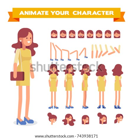 Front, side, back, 3/4 view animated character. Pretty woman in dress constructor with various views, hairstyles, face emotions, poses. Cartoon style, flat vector illustration.