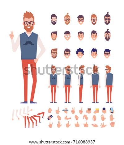 Front, side, back view animated character, separate parts of body. Fashionable Bearded hipster constructor with various views, hairstyles, poses and gestures. Cartoon style, flat vector illustration.