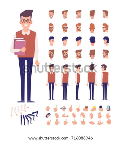 Front, side, back view animated character, separate parts of body. Student boy with books constructor with various views, hairstyles, poses and gestures. Cartoon style, flat vector illustration.