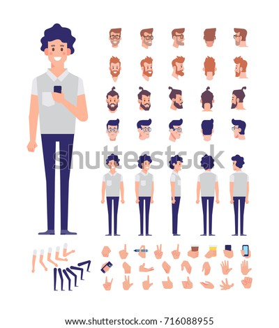 Front, side, back view animated character, separate parts of body. Young guy with mobile constructor with various views, hairstyles, poses and gestures. Cartoon style, flat vector illustration.