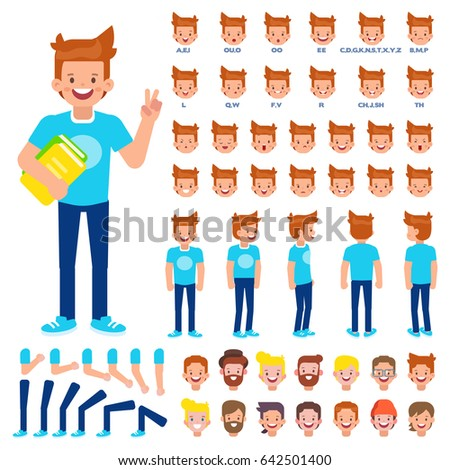 Front, side, back view animated character. Student character creation set with various views, hairstyles, face emotions, poses and gestures. Cartoon style, flat vector illustration.