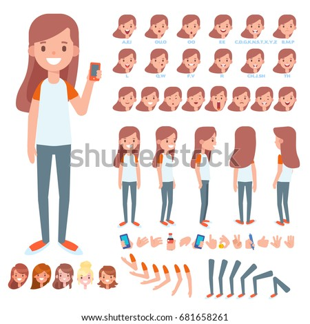 Front, side, back view animated character. Teenage girl character creation set with various views, hairstyles, face emotions, poses and gestures. Cartoon style, flat vector illustration.