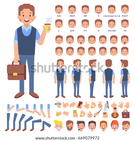 Front, side, back view animated character. Young Man with case character creation set with various views, hairstyles, face emotions, poses and gestures. Cartoon style, flat vector illustration.