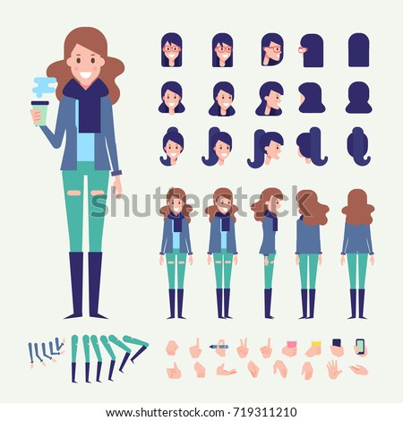 Front, side, back, 3/4 view animated character. Young woman in warm scarf constructor with various views, hairstyles, poses and gestures. Cartoon style, flat vector illustration.