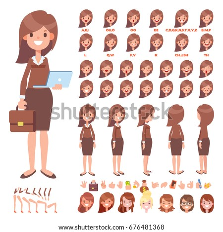 Front, side, back view animated characters. Business woman  creation set with various views, face emotions, poses and gestures. Cartoon style, flat vector illustration.