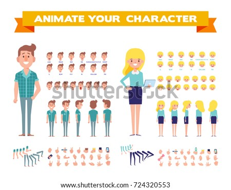 Front, side, back, 3/4 view animated characters. Male and female characters creation set with various views,  face emotions, poses and gestures. Cartoon style, flat vector illustration.