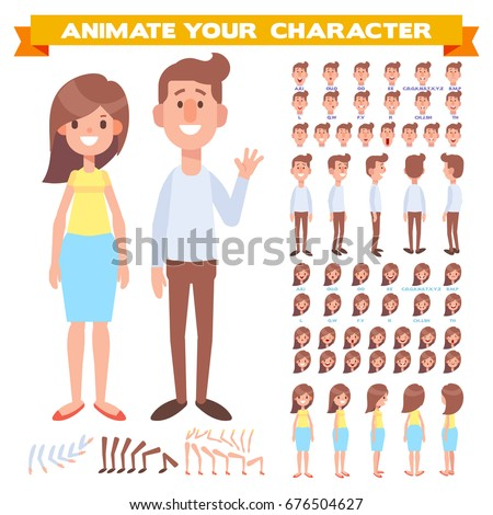 Front, side, back view animated characters. Male and female characters creation set with various views, face emotions, poses. Cartoon style, flat vector illustration.