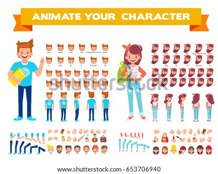 Front, side, back view animated characters. Male and female Students creation set with various views, hairstyles, face emotions, poses and gestures. Cartoon style, flat vector illustration.