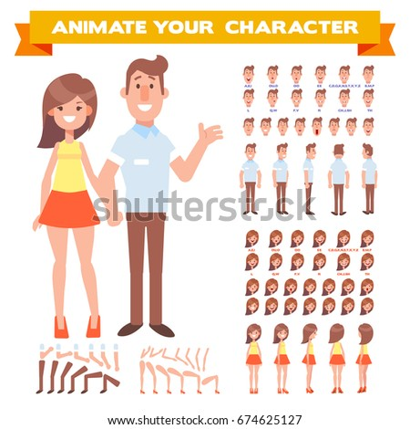 Front, side, back view animated characters. Man and woman characters creation set with various views, hairstyles, face emotions. Cartoon style, flat vector illustration.