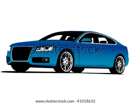 Front-side view of blue exclusive car isolated on white - vector illustration