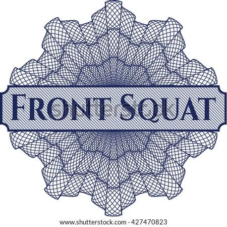Front Squat inside money style emblem or rosette