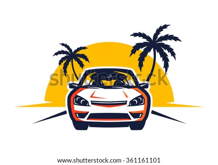 front view car driving at