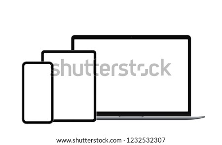 Front view electronic devices: laptop, tablet and smart phone isolated with empty screen. Vector illustration.