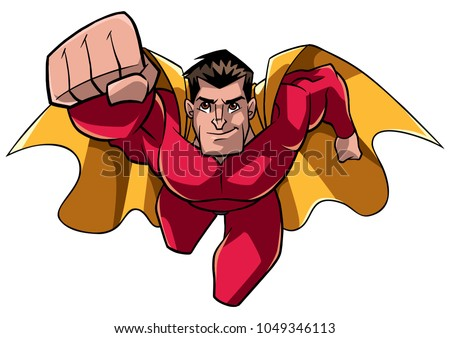Front view full length illustration of a determined and powerful superhero wearing cape and red costume while flying against white background for copy space