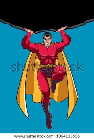 Front view full length illustration of a powerful and brave superhero holding a huge boulder above his head during a dangerous mission
