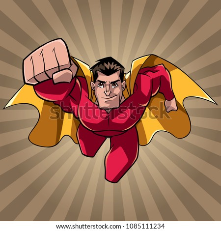 Front view full length illustration of determined and powerful superhero wearing cape and red costume while flying over abstract ray light background.