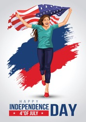 Front view. Girl with American flag runs in light background. USA independence day 4th July. Happy independence day.vector illustration