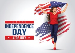 Front view. Girl with American flag runs in light background. USA independence day 4th July. Happy independence day.