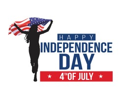 Front view. Girl with American flag runs in white background. USA independence day 4th July. Happy independence day.vector illustration