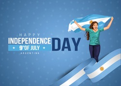Front view. Girl with Argentinian flag runs in light background. Argentina independence day 9th july. Happy independence day. coronavirus, covid-19 concept. vector illustration