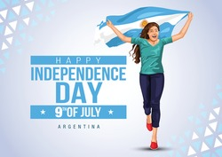 Front view. Girl with Argentinian flag runs in light background. Argentinia independence day 9th july. Happy independence day.