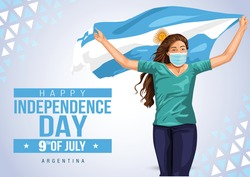 Front view. Girl with Argentinian flag runs in light background. Argentinia independence day 9th july. Happy independence day. coronavirus, covid-19 concept. vector illustration