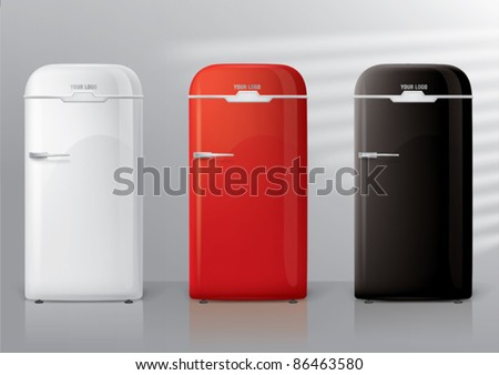 Front view of a retro refrigerator for magnet or sticky notes, vector