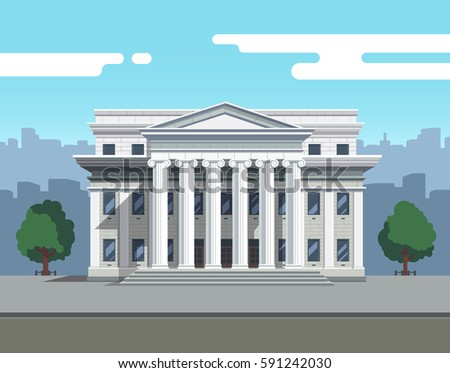 Front view of court house, bank, university or governmental institution. White brick public building with white columns. Flat style modern vector illustration.
