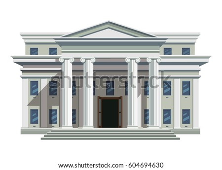 Front view of court house, bank, university or governmental institution. White brick public building with high columns and open doors. Flat style vector illustration isolated on white background.
