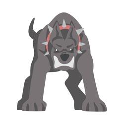 Front View of Furious Aggressive Pedigree Dog Baring its Teeth Vector Illustration