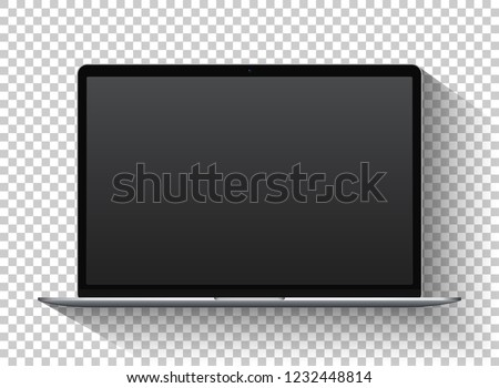 Front view of silver laptop with camera and empty screen on transparent background with shadow.  Can be used for presentation web-design, sites and templates. Vector resizable illustration.