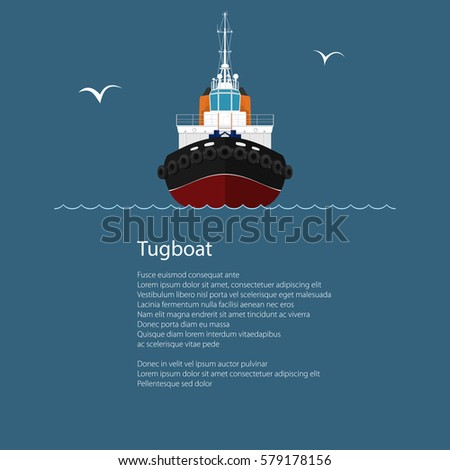 Front View of the Vessel Tugboat and Text, Push Boat for to Towage and Mooring of Other Courts ,Poster Brochure Flyer Design, Vector Illustration