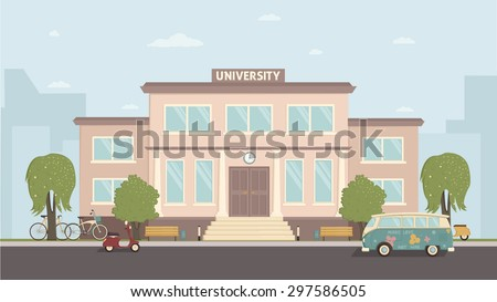 Front view of university in flat style.