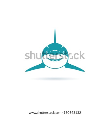 Front view shark - vector illustration