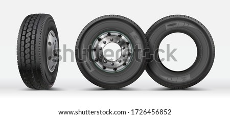 Front view, side view of a heavy truck lorry isolated on white. 3D illustration. Tire icon on white background, vector symbol. Rubber tyres. Big new tire for truck. Car wheel.