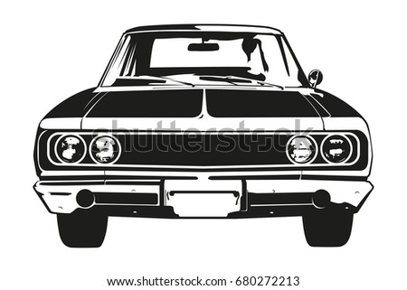 front view vector silhouette of ...