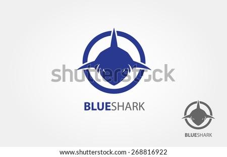 frontal head of shark vector