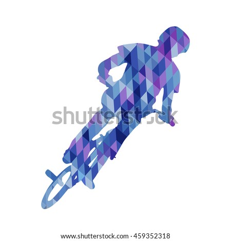 Frontal triangle silhouette of bmx cyclist isolated on white background. Vector