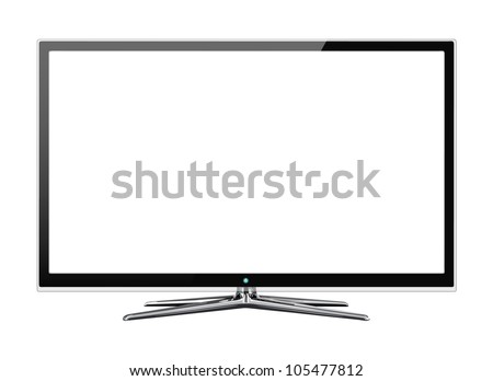 Frontal view of widescreen led or lcd internet tv monitor isolated on white - stock vector