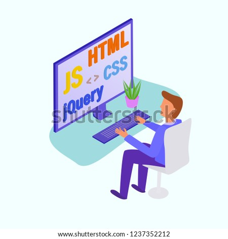 Frontend developer working with programming languages HTML, CSS, JS, jQuery. Concept vector illustration for programming learning, employee search.