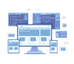 Frontend Development, Creating a site layout, template. Website UI UX interface on a monitor screen, tablet, phone, html css js programming code. Vector illustration on white background