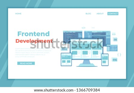 Frontend Development, Creating a site layout, template. Website UI UX interface on a monitor screen, tablet, phone, html css js programming code. landing page template or banner. Technology concept.